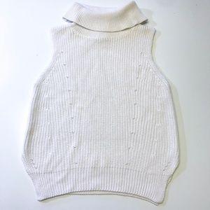 Cream Knit Turtle Neck Tank